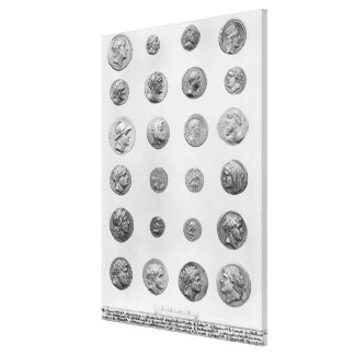 Twenty four coins stretched canvas print