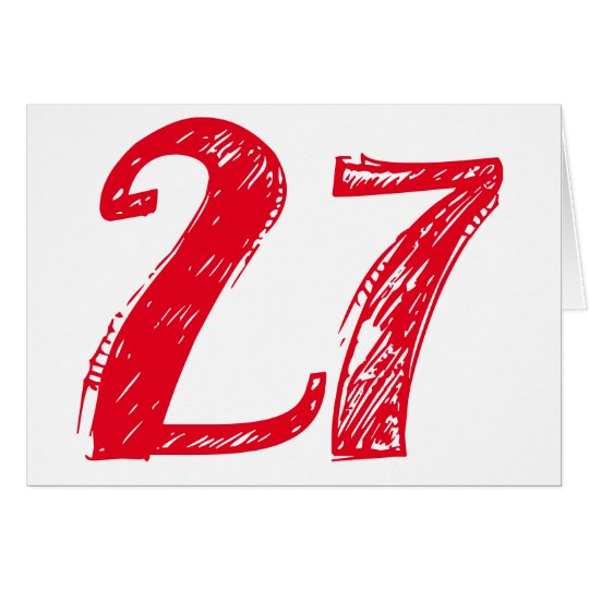 Twenty-seven is a big deal, big red text on white. card