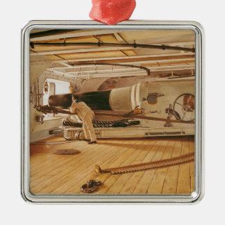 Twenty-Seven Pound Cannon on a Battleship Christmas Ornament