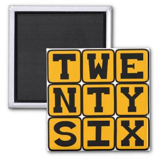 Twenty Six Number 26 Fridge Magnets