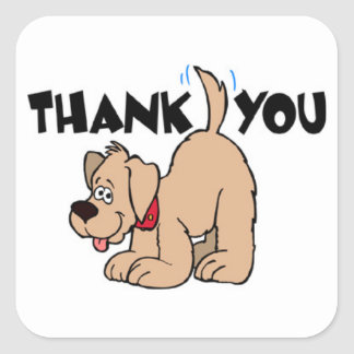 TWENTY Thank You Stickers - Dog with Wagging Tail