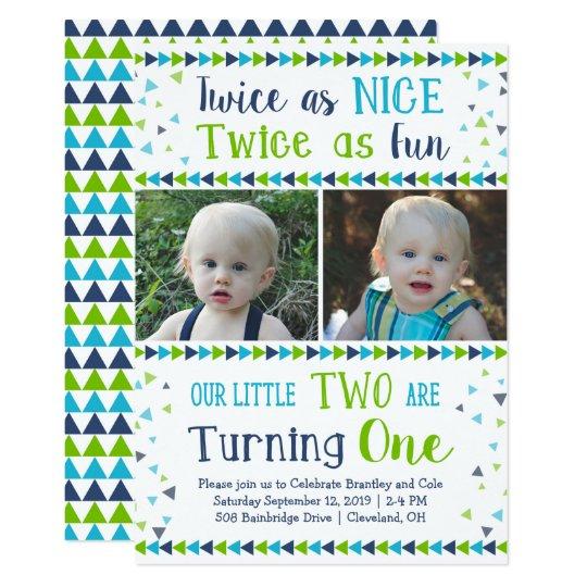 Twice As Nice Twin Boy First Birthday Invitation
