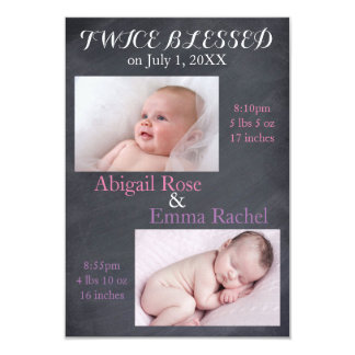 Twice Blessed Twin Girls - 3x5 Birth Announcement