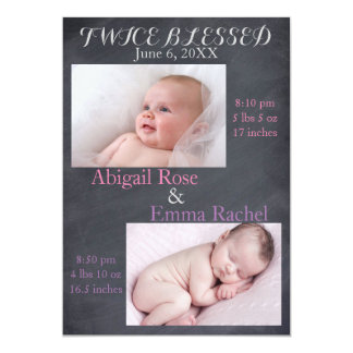 Twice Blessed Twin Girls - Birth Announcement