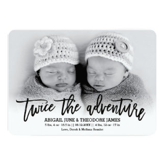 Twice the Adventure Modern Twins Birth Announcemen Card