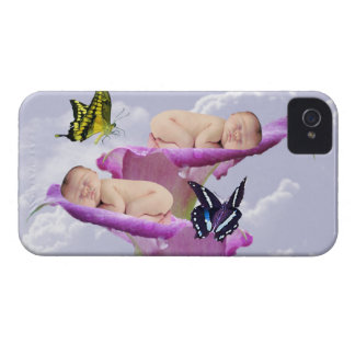 Twice the joy with baby twins shower invitation iPhone 4 Case-Mate cases