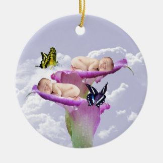 Twice the joy with baby twins shower invitation christmas ornament