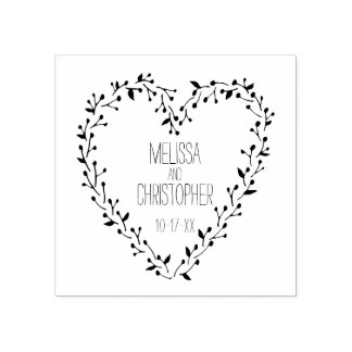 Twig and Berry Heart Wreath | Wedding Rubber Stamp