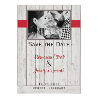 Twig Berries on Rustic Back Save the Date Card