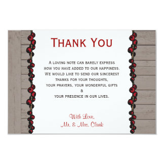 Twig Berries on Rustic Back Thank you Card