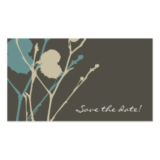 Twig BLUE & CHARCOAL Save the date! Pack Of Standard Business Cards