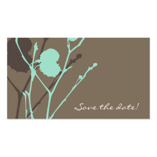 Twig BLUE-MOCHA Save the date mini Business Cards