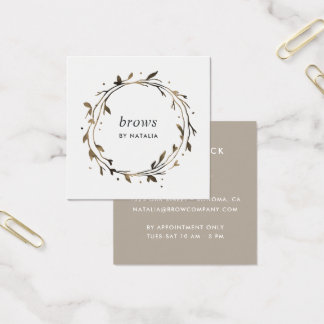 Twig Botanical Wreath Square Business Card