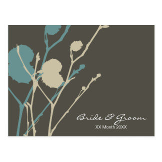 Twig CHARCOAL BLUE wedding invitation Post Cards