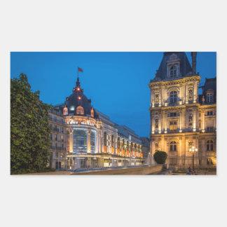 Twilight at Bazar de l'Hotel de Ville Rectangular Sticker