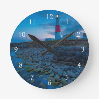 Twilight at the Portland Bill Lighthouse Round Clock