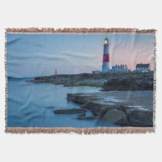 Twilight at the Portland Bill Lighthouse Throw Blanket