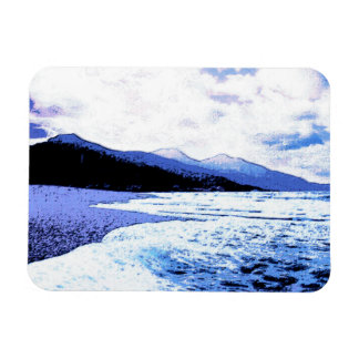 Twilight beach in shades of blue rectangular photo magnet
