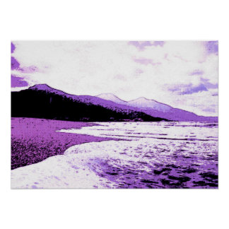 Twilight beach in violet and purple posters