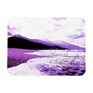 Twilight beach in violet and purple rectangular photo magnet