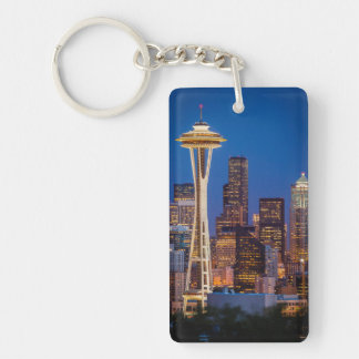 Twilight Blankets The Space Needle And Downtown 2 Double-Sided Rectangular Acrylic Key Ring