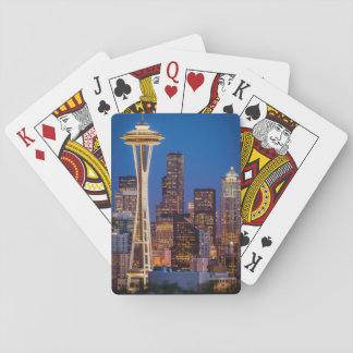 Twilight Blankets The Space Needle And Downtown 2 Playing Cards