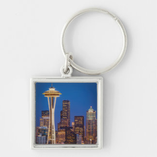 Twilight Blankets The Space Needle And Downtown 2 Silver-Colored Square Key Ring