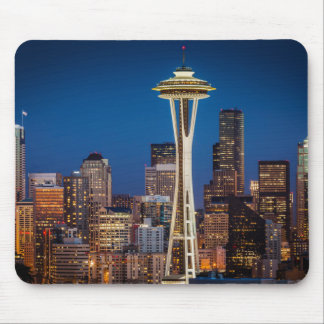 Twilight Blankets The Space Needle And Downtown Mousepads