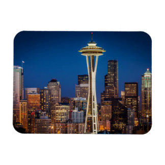 Twilight Blankets The Space Needle And Downtown Rectangular Photo Magnet