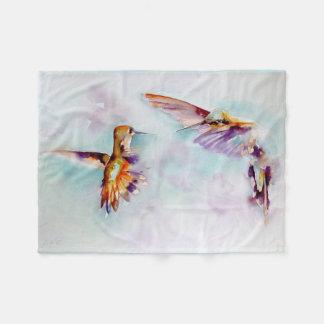 """""""Twilight Dance"""" Hummingbird Print Fleece Blanket"""