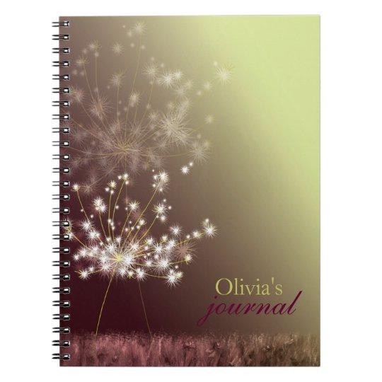 Twilight Dandelion Personalised Journal Note Books