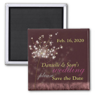 Twilight Dandelions Wedding Save the Date Square Magnet