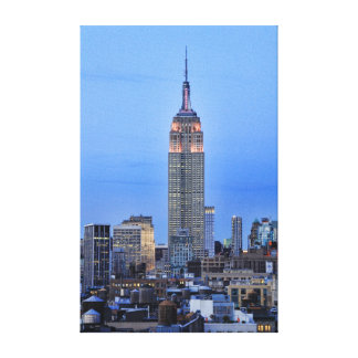 Twilight: Empire State Building lit up Pink - 04 Canvas Print