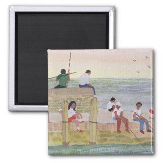 Twilight Fishing 1988 Square Magnet