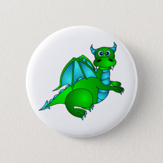 Twilight Flight - Cute Green & Blue Dragon 6 Cm Round Badge