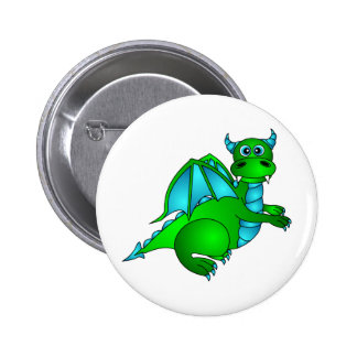 Twilight Flight - Cute Green & Blue Dragon 6 Cm Round Badge