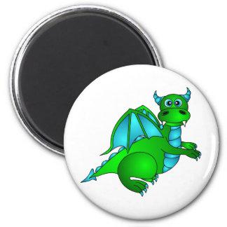 Twilight Flight - Cute Green & Blue Dragon 6 Cm Round Magnet