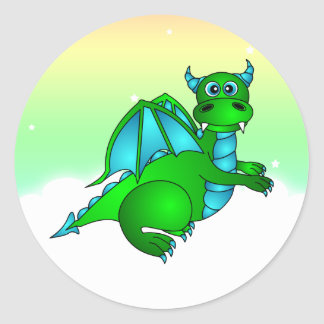 Twilight Flight - Cute Green & Blue Dragon Round Sticker