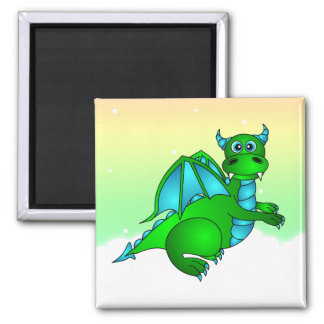 Twilight Flight - Cute Green & Blue Dragon Square Magnet