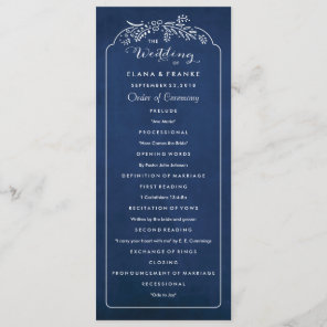 Twilight Garden Royal Blue Wedding Program Programme