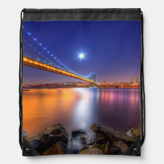 Twilight, George Washington BridgePalisades, NJ. Drawstring Bag
