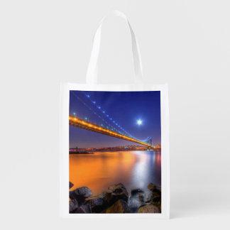 Twilight, George Washington BridgePalisades, NJ. Reusable Grocery Bag
