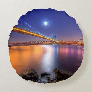Twilight, George Washington BridgePalisades, NJ. Round Cushion