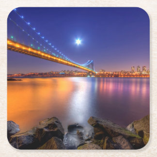 Twilight, George Washington BridgePalisades, NJ. Square Paper Coaster
