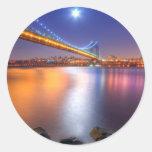 Twilight, George Washington BridgePalisades, NJ. Round Stickers