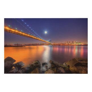 Twilight, George Washington BridgePalisades, NJ. Wood Wall Art