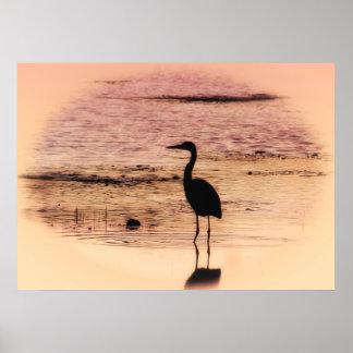 Twilight Heron Poster