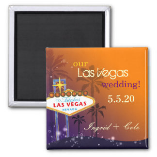 Twilight Las Vegas Wedding Save the Date Square Magnet