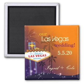 Twilight Las Vegas Wedding Save the Date Square Magnet
