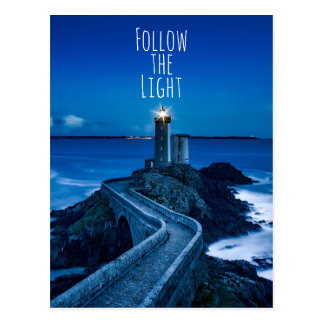 Twilight Lighthouse Follow the Light Postcard